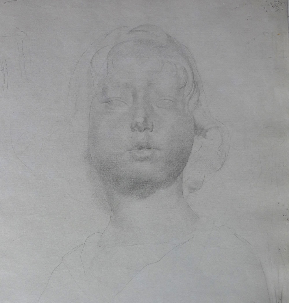 Drawing of a girls head by stanley spencer