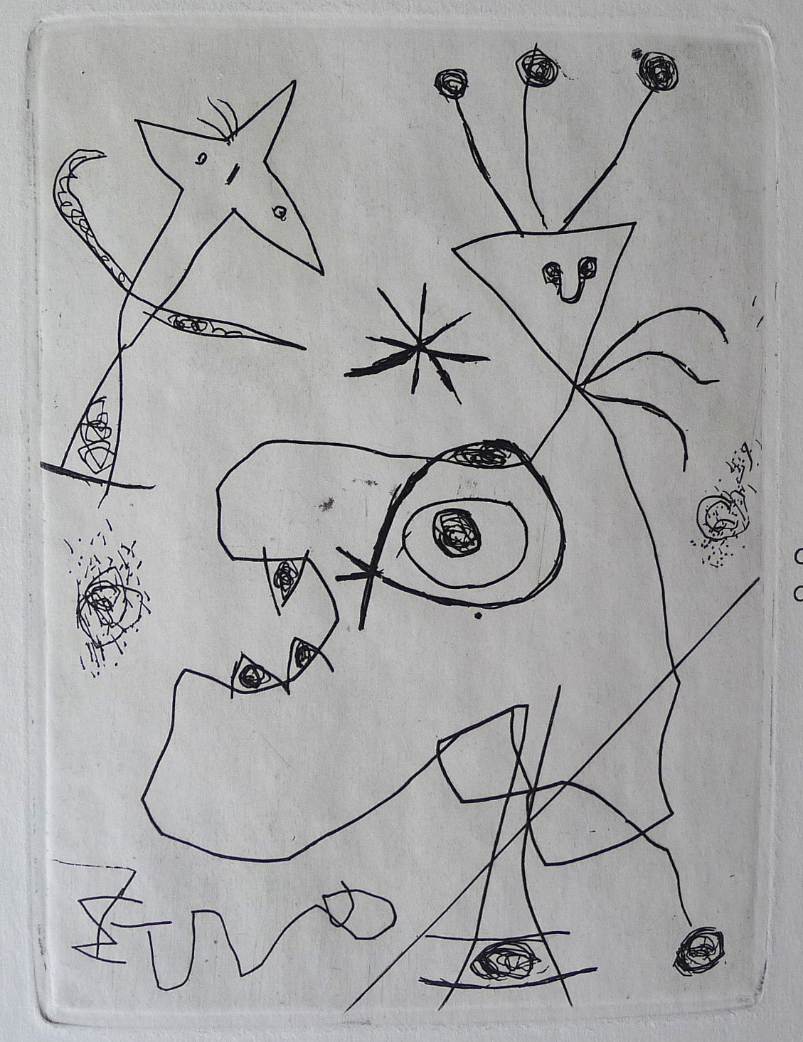 Joan miro etching as issued in derriere le miroir 1956 for Miro derriere le miroir