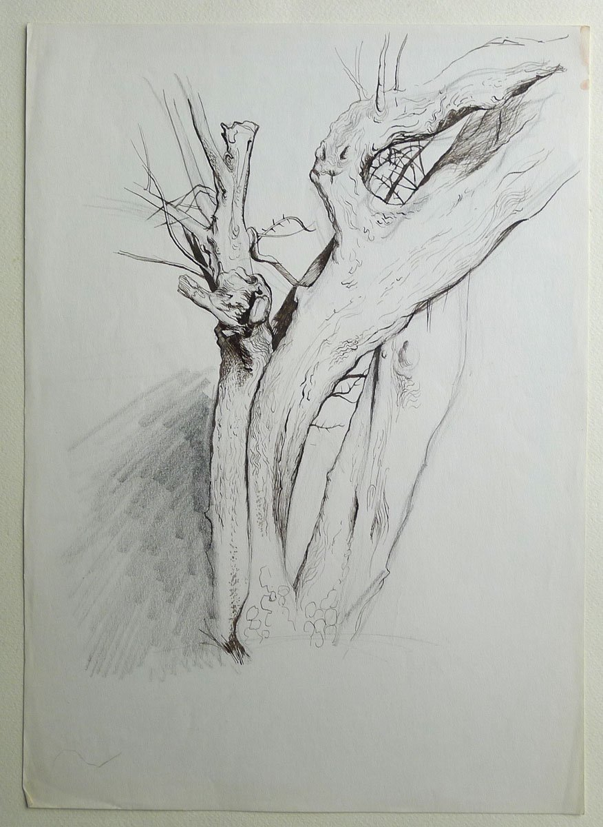 An original pen and ink and pencil sketch of trees